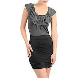 Stanzino Women's Black/ Grey Ruffled Collar Mini Dress