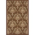 Outdoor South Beach Brown Damask Rug (8' x 10')