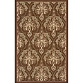 Outdoor South Beach Brown Damask Rug (2' x 3')