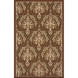Outdoor South Beach Brown Damask Rug (5' x 8')