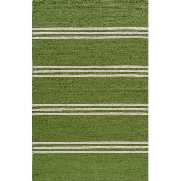 South Beach Indoor/Outdoor Lime Stripes Rug (8' x 10')