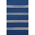 Indoor/ Outdoor South Beach Blue Stripes Rug (2' x 3')