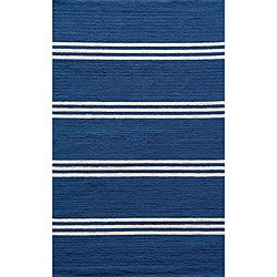Indoor/ Outdoor South Beach Blue Stripes Rug (3'9 x 5'9)