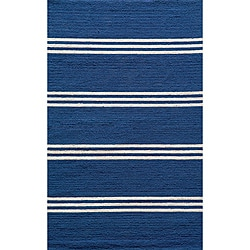 Indoor/Outdoor South Beach Blue Stripe Rug (5' x 8')