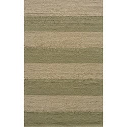 Indoor/Outdoor South Beach Sage Striped Rug (8' x 10')