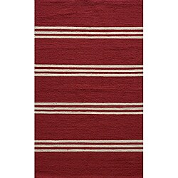 South Beach Indoor/Outdoor Red Stripes Rug (8' x 10')