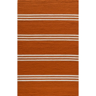 Indoor/Outdoor South Beach Orange Striped Rug (2' x 3')