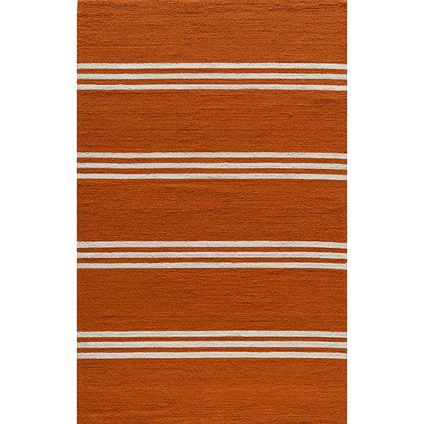 South Beach Indoor/Outdoor Orange Stripes Rug (2' x 3')