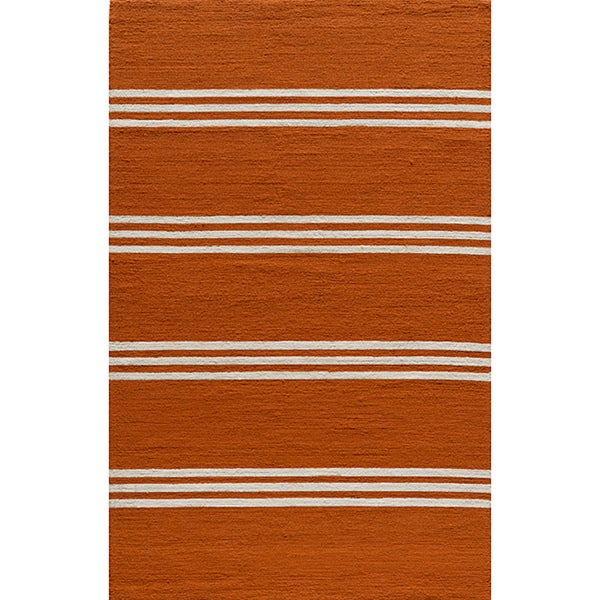 South Beach Indoor/Outdoor Orange Stripes Rug (5' x 8')
