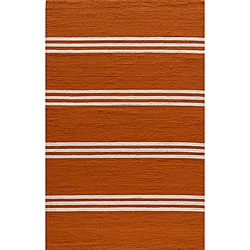 Indoor/Outdoor South Beach Orange Striped Rug (5' x 8')
