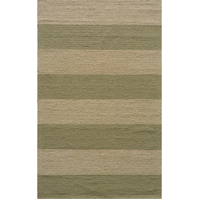 Indoor Outdoor South Beach Sage Striped Rug 3 9 x 5 9