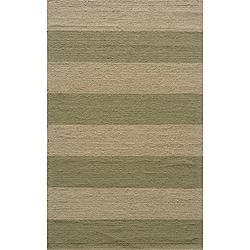 Indoor/Outdoor South Beach Sage Striped Rug (3'9 x 5'9)