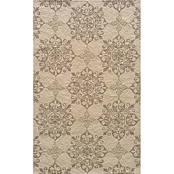 Indoor/ Outdoor South Beach Beige Medallions Rug (5' x 8')