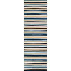 B. Smith Hand-woven Blue Arroyo Wool Rug (2'6 x 8')