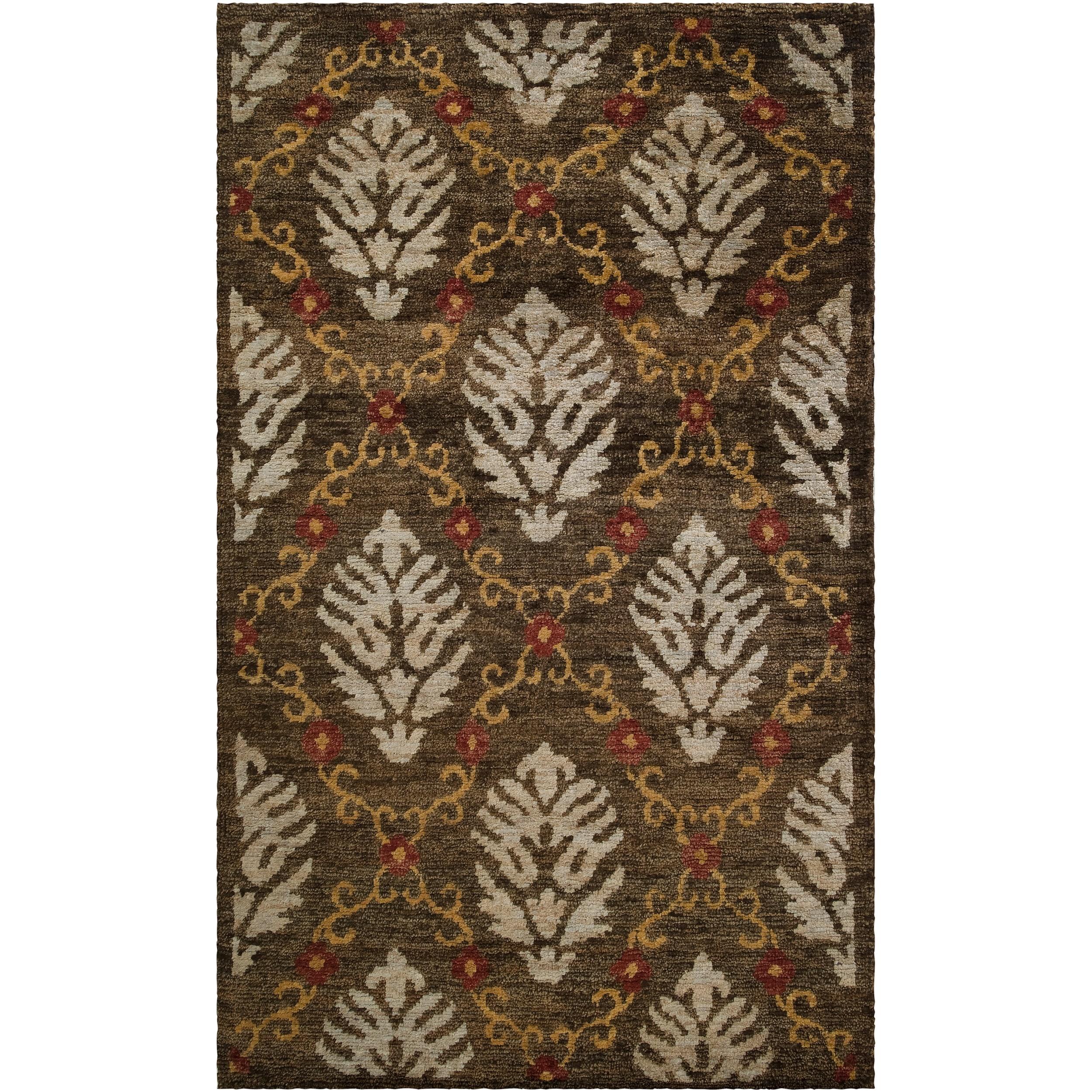 Hand-woven Gray Canon Classic Floral Hemp Rug (5' x 8')