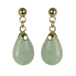 Gems For You 14k Gold Jade Dangle Earrings
