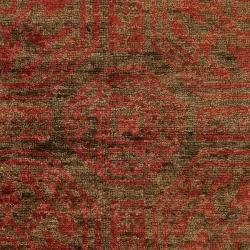 Hand-woven Orange Tarvo Classic Floral Hemp Rug (3'3 x 5'3)