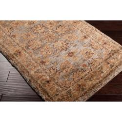 Hand-woven Brown Matose Traditional Border Hemp Rug (8' x 11')