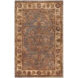 Hand-woven Brown Matose Traditional Border Hemp Rug (5' x 8')