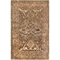 Hand-woven Brown Saya Traditional Border Hemp Rug (3'3 x 5'3)