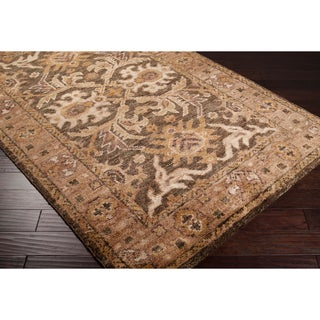Hand-woven Brown Saya Traditional Border Hemp Rug (2'6 x 8')