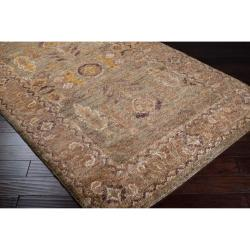 Hand-woven Green Tipuani Traditional Border Hemp Rug (3'3 x 5'3)