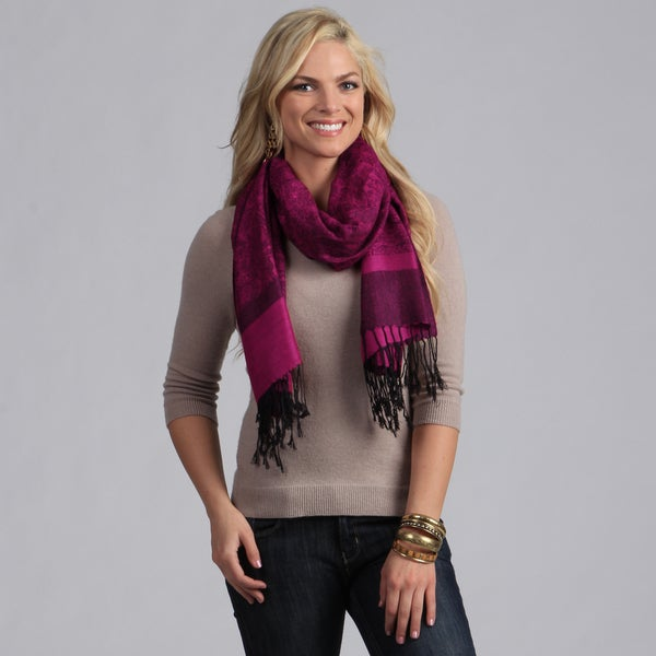 Magenta and Black Fringe Shawl Wrap