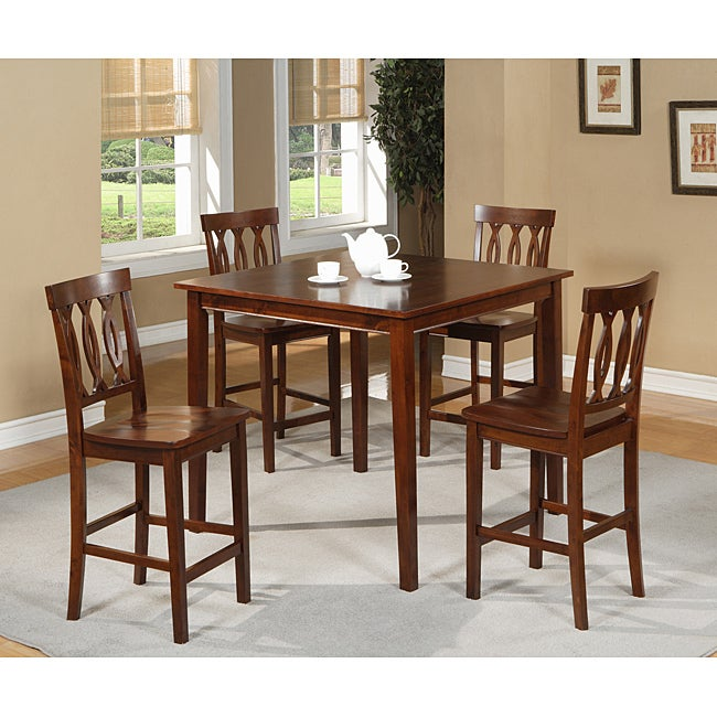 Brown Gathering Table And 4 Counter Height Chairs 5 Piece Dining Set