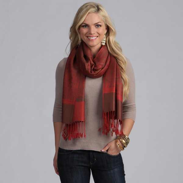 Red and Chocolate Jacquard Fringe Detail Scarf