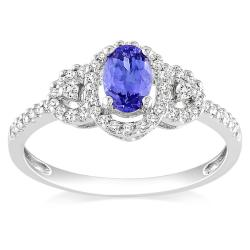 Miadora 10k White Gold Tanzanite and 1/6ct TDW Diamond Ring (H-I, I2-I3)