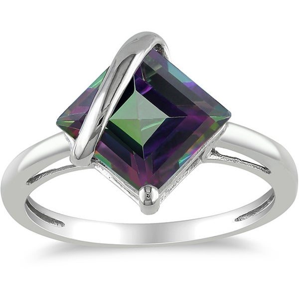 Miadora 10k White Gold 3ct TGW Exotic Green Topaz Ring