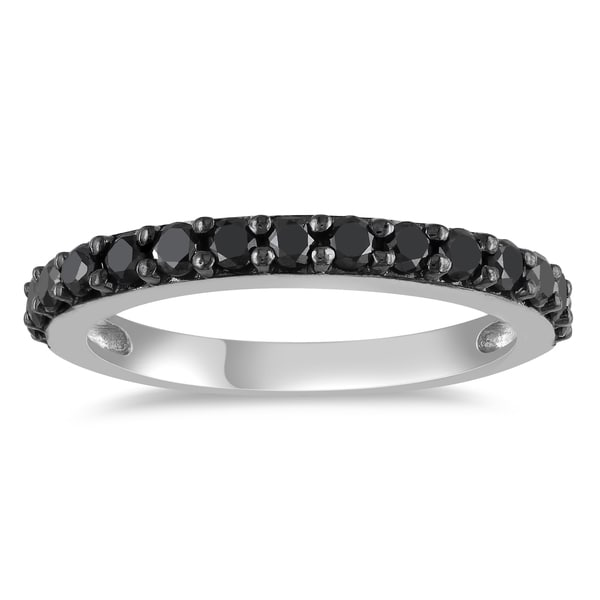Miadora 10k White Gold 3/4ct TDW Black Diamond Ring