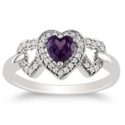 Miadora 10k White Gold Created Alexandrite and 1/8ct TDW Diamond Ring (H-I, I2)