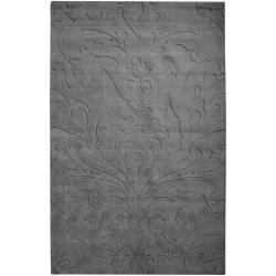 Candice Olson Loomed Gray Silala Damask Pattern Wool Rug (5' x 8')