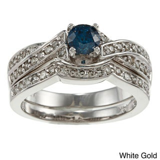 Auriya 14k Gold 3/4ct TDW Blue and White Diamond Bridal Ring Set (G-H, SI2)