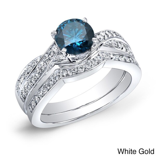 Auriya 14k Gold 3/4ct TDW Blue and White Diamond Bridal Ring Set (G-H, SI2)