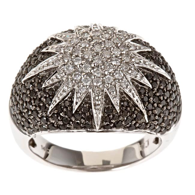 D'Yach 14k White Gold 1 3/5ct TDW Black Diamond Cocktail Ring