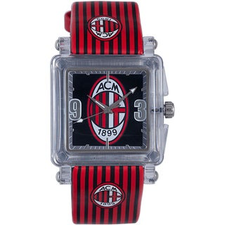 Chronotech Kids' Plastic and Leather Red Striped Watch