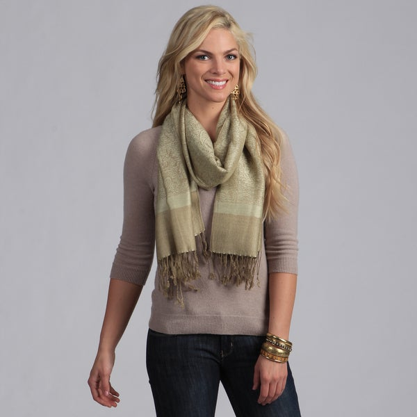 Women's Green and Olive Jacquard Shawl Wrap
