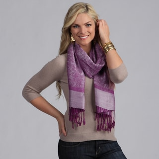 Women's Eggplant and Silver Jacquard Shawl Wrap