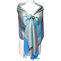 Women's Baby Blue and Gold Shawl Wrap