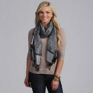Women's Silver and Black Shawl Wrap
