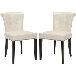 Safavieh Carrie Flat Cream Leather Side Chair (Set of 2)