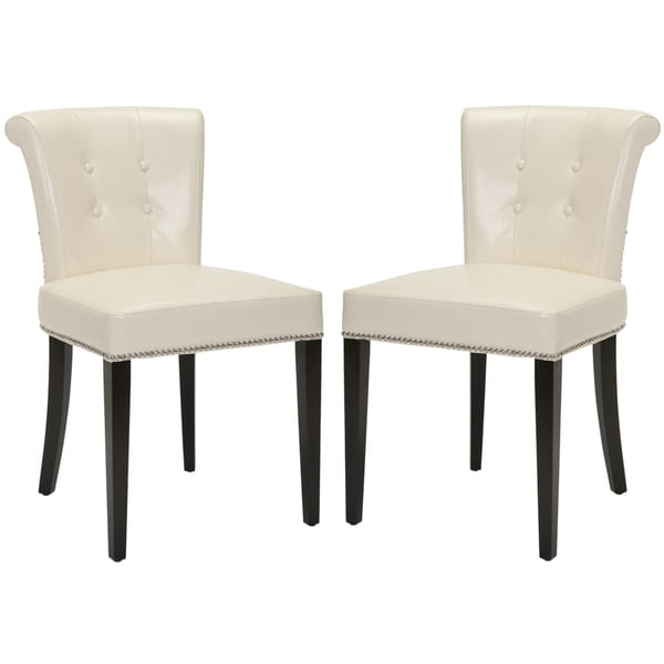 Safavieh En Vogue Dining Carrie Flat Cream Leather Side Chairs (Set of 2)