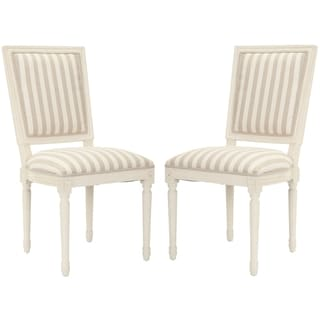 Safavieh Provincial Carved Stripe Cream/ Grey Side Chairs (Set of 2)