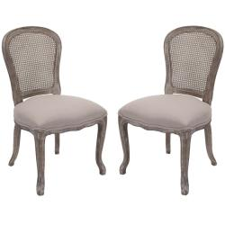 Safavieh Riveria Antiqued Oak Finish Taupe Side Chairs (Set of 2)