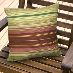 17-inch Outdoor Kinnabari Stripe Square Accent Pillow (Set of 2)