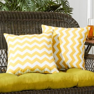 17-inch Outdoor Zig Zag Yellow Square Accent Pillow (Set of 2)