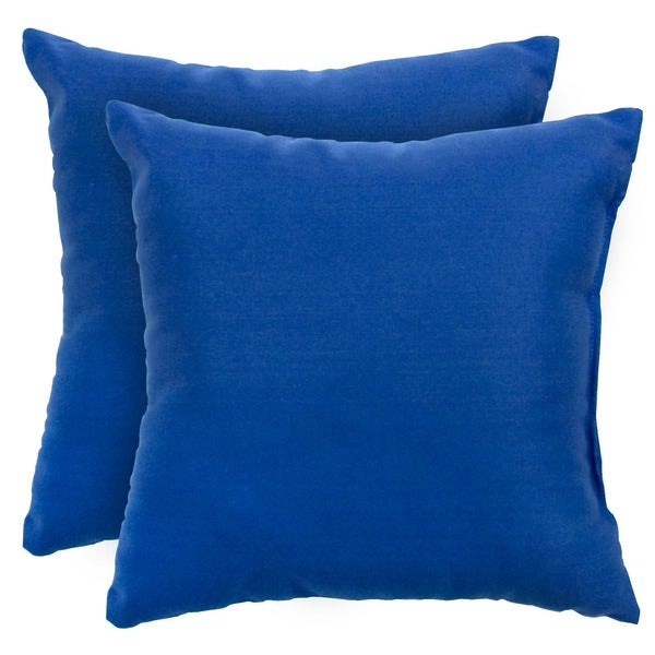 17-inch Outdoor Marine Blue Square Accent Pillow (Set of 2)