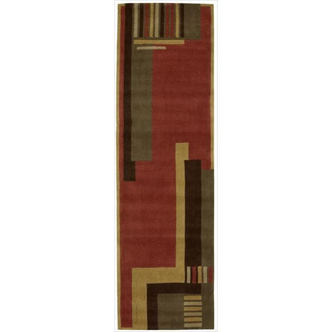 "Nourison Hand-Tufted Dimensions Rust Geometric Rug (3'6"" x 5'6"")"